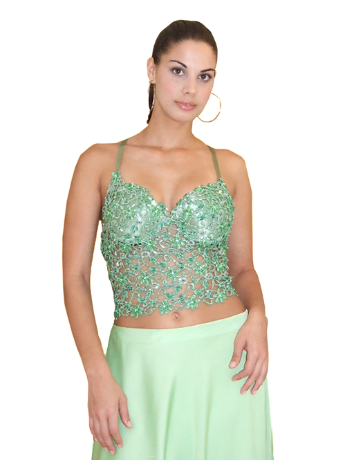 Green Lace Guipure Corset - 3000
