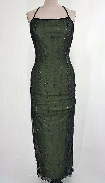 Dark Green Long Cocktail Dress - 4154