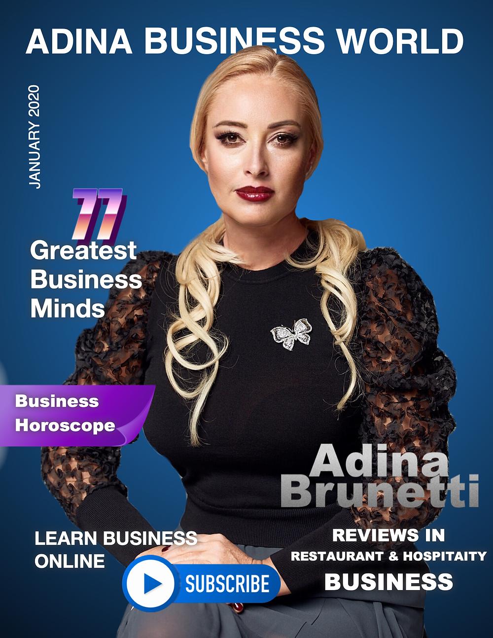 Adina Brunetti on Adina Business World Cover