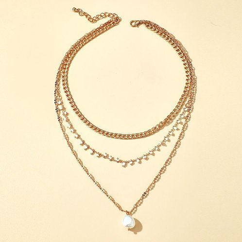 Multilayered gold necklace, faux fresh water pearl pendant