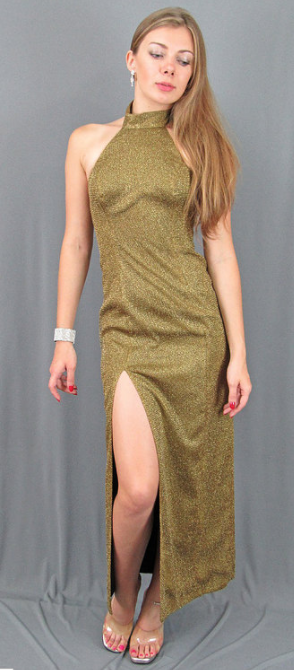 Long Gold High Neck Cocktail Dress