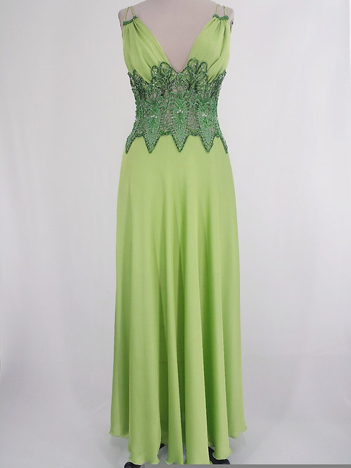 Green Lace Long Dress - 4070