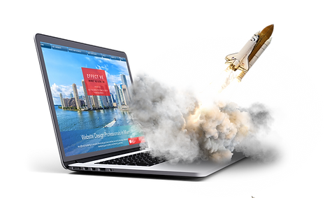 Effective Marketing & Design launching a rocket from a laptop
