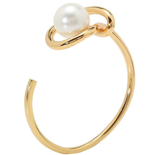 Beautifully designed geometric faux pearl and gold adjustable cuff bracelet.