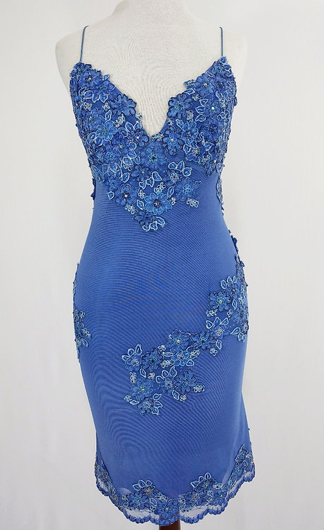 Blue Embroidered Dress - 4407