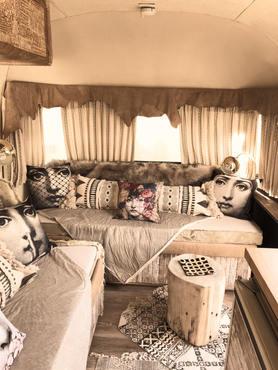 1976 Argosy Minuet updated lounge by Shandy Lane