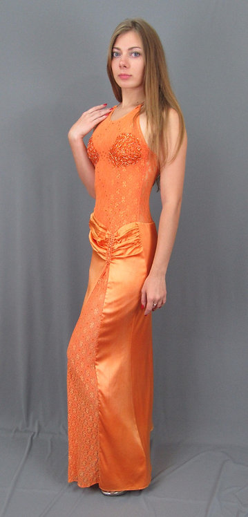 Long Orange Silk Dress - 4027