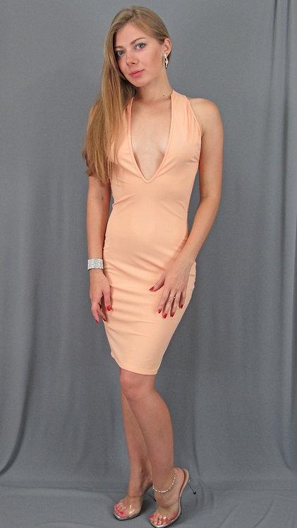 Sexy Peach Plunge Neckline Dress - 65804