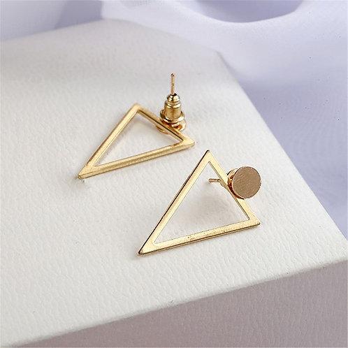 Gold triangular shaped earring