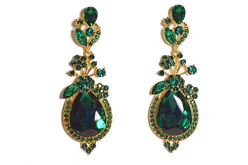 Green Crystal Teardrop Flower Earrings