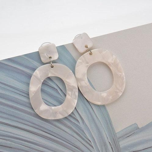 Off white hoop drop earrings