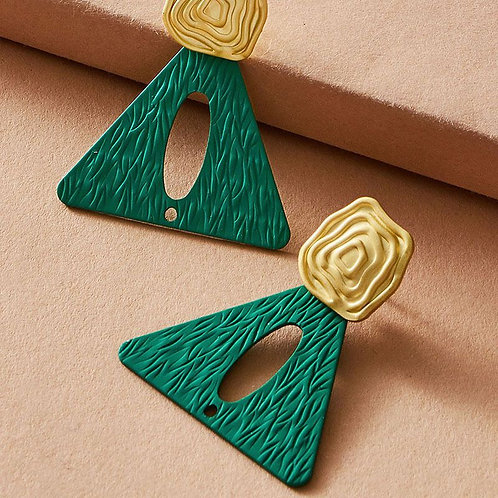 Sacramento green triangular shaped earring with a illusion gold rose on top