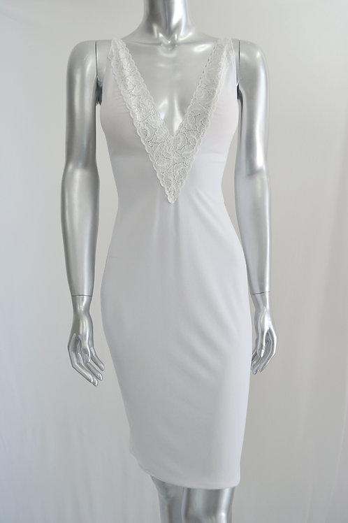 V Neck Lace Dress - 3347