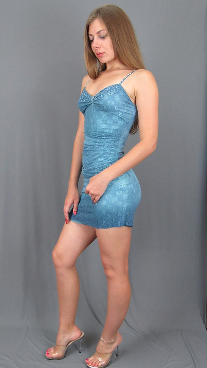 Short Blue Dress with Swarovski Crystals  - 3178