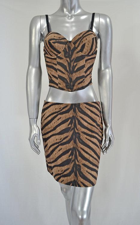 Animal Print Top & Skirt - 2077