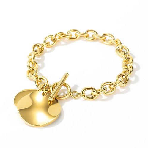 Stainless steel gold single charm linked bracelet
