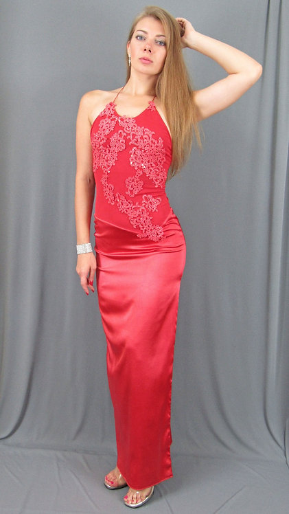 Red Silk Charmeuse Long Dress with Swarovski Crystals - 4027