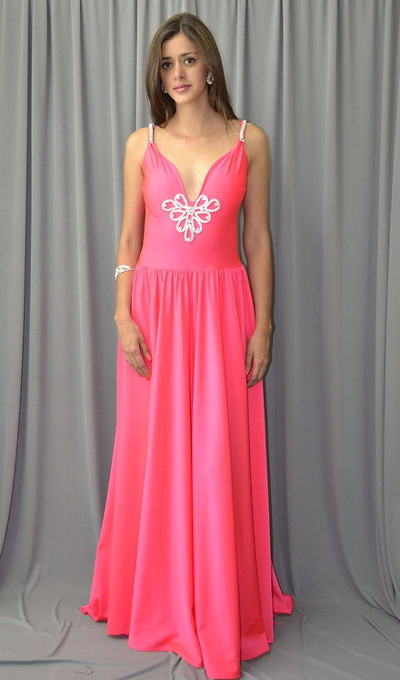 Long Pink Dress with Swarovsky Crystals - 4071