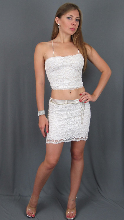 White Lace Top and Skirt- 10952208