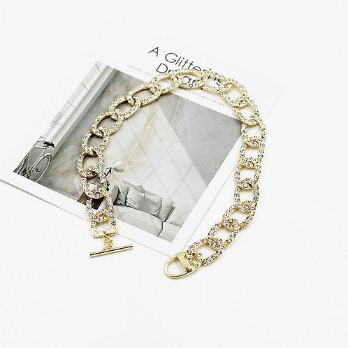 brilliant zircon Diamond covered link necklace
