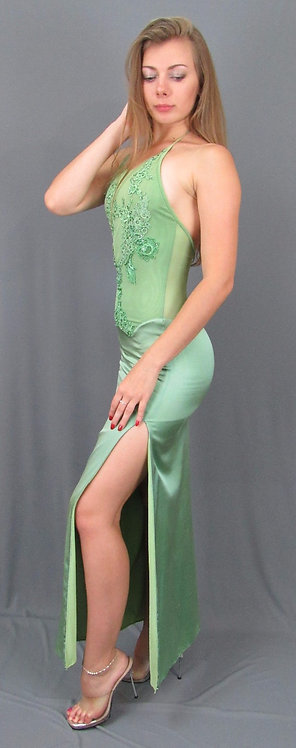 Green Silk Charmeuse Dress - 4042