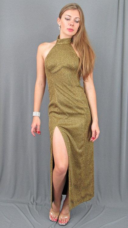 Long Gold High Neck Cocktail Dress - 43312