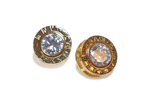Gold Round Cubic Zirconia Fashion Stud Earrings