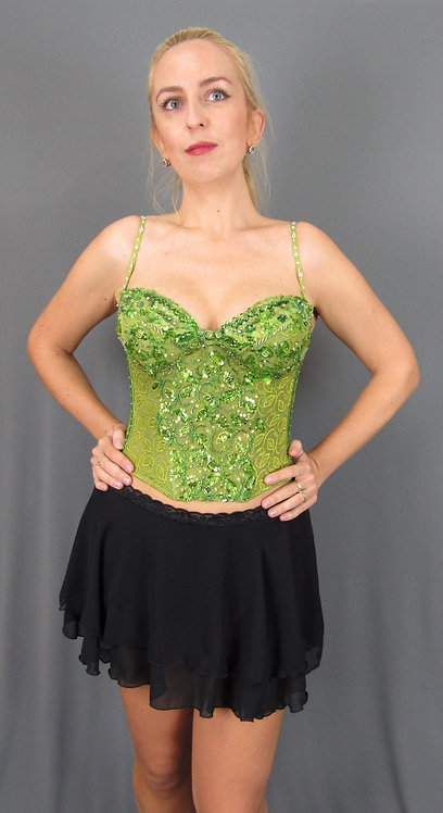 Green Corset with Hand-sewn Swarovski Crystals - 5234