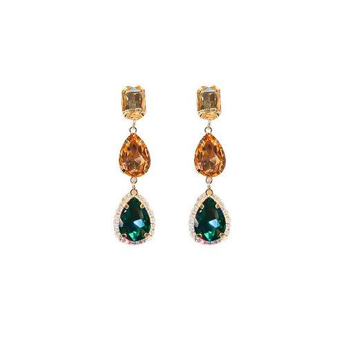 Tri-color earrings. light yellow cushion cut stone, peach colored tear drop stone, emerald green tear drop stone