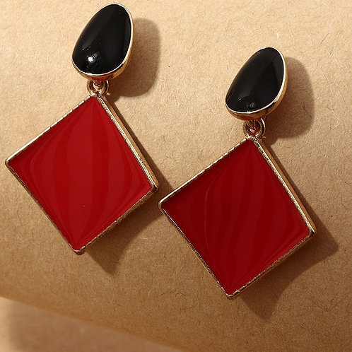 red and black dangling earring