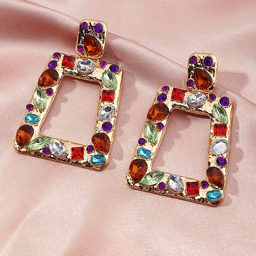Multi-colored trapezoid shaped gold inlaid beautiful hoop inspired formal earrings