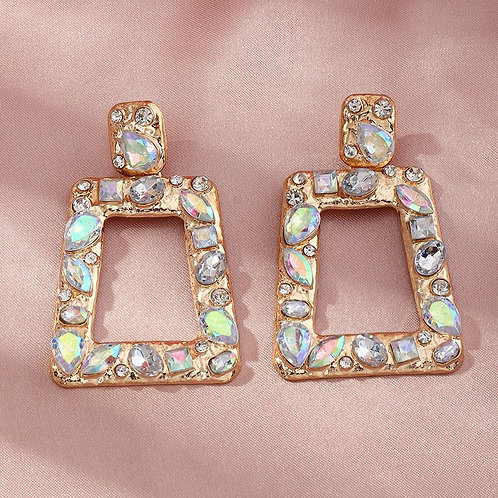 gold with multi-stone vintage geometric trapezoid shaped drop hoop inspired earring