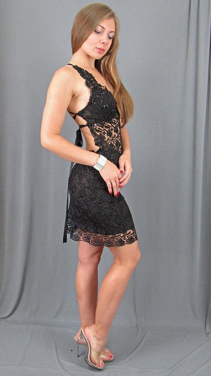 Black Guipure Lace Dress | Lavish Miami Designs - 40591