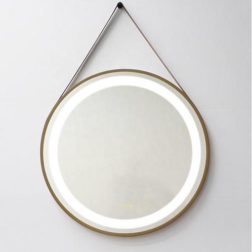 Leather Strip Hanging Bathroom Mirror