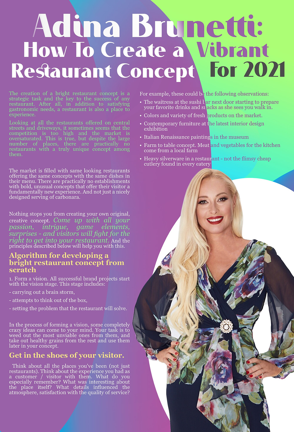 Adina Brunetti: How To Create a  Vibrant Restaurant Concept for 2021