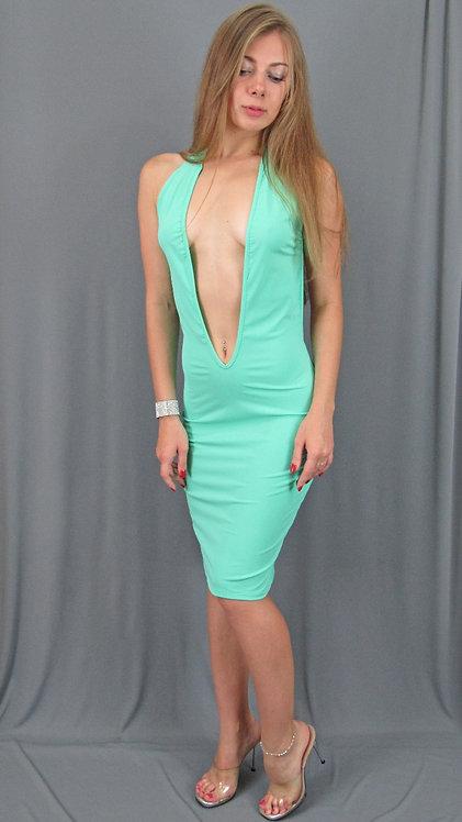 Sexy Mint Plunge Neckline Dress - 65803