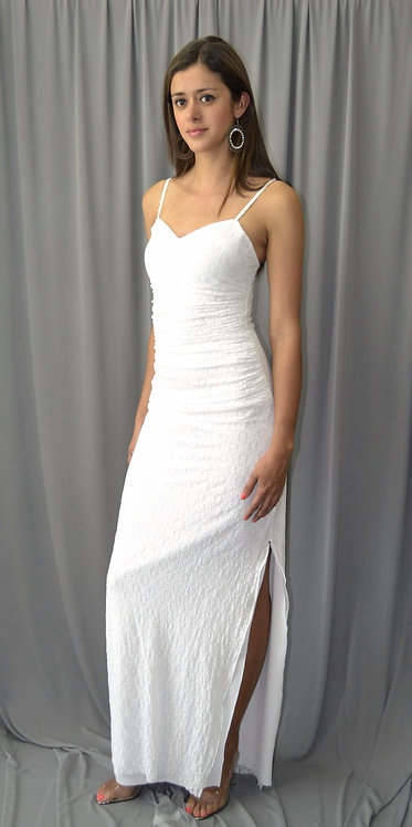 Elegant White Long Dress With Open Side - 4095