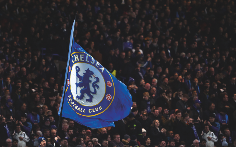 Chelsea fans keep the blue flag flying high