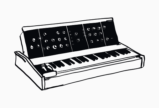 Line drawing of a moog synthesizer