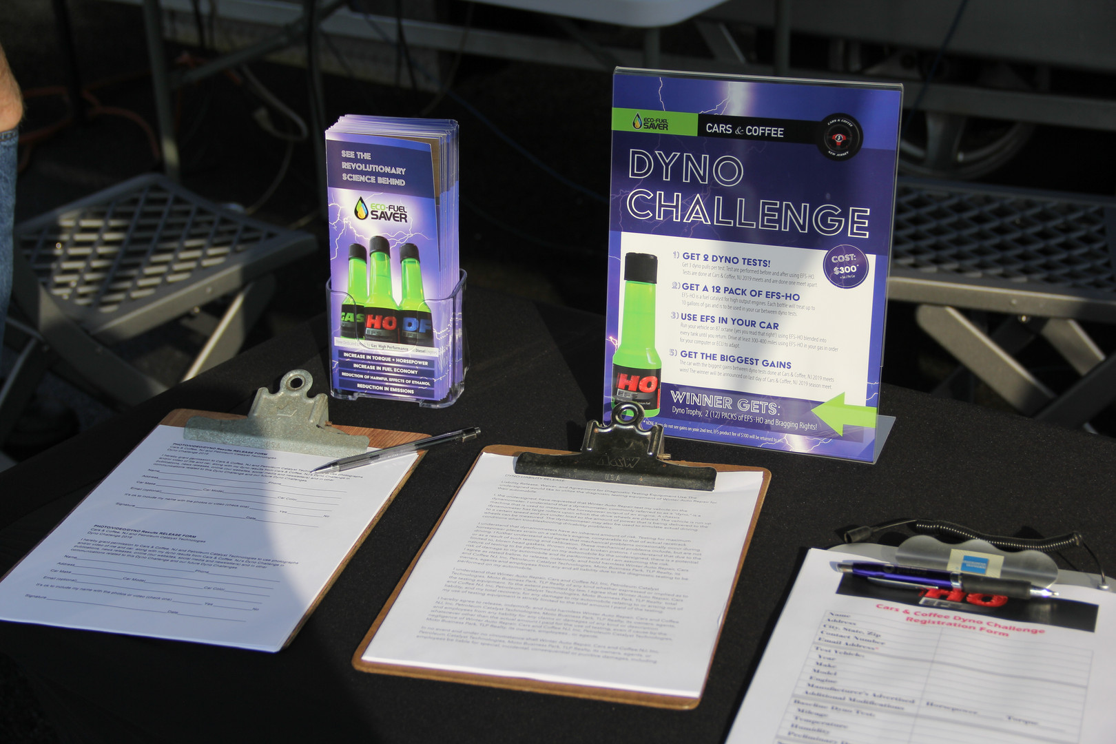PCT Dyno Challenge table sign and brochure