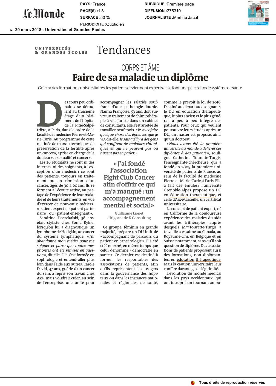 Article LE MONDE, Patient partenaire