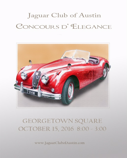 Join The Jaguar Club of Austin for the Concours D' Elegance in downtown Georgetown on October 15, 2015 to celebrate automotive beauty in a fine display of the area's most elegant cars.   Contact Charlie Cluck for information at: cwc321@gmail.com