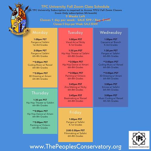 TPC University Fall Zoom Classes 2020