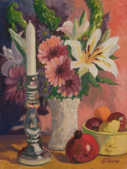 Floral, Candlestick and Fruit
