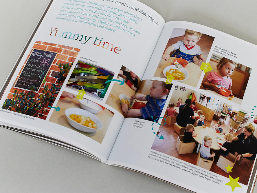 As well as recipes, the book incorporates elements of the Early Years Learning Framework and the preschool's educational philosophy.