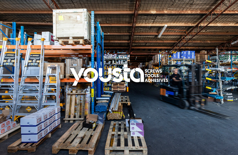 The name 'yousta' not only joins the customer ('you') with 'screws, tools and adhesives', but is the phonetic pronounciation of the owner's surname.