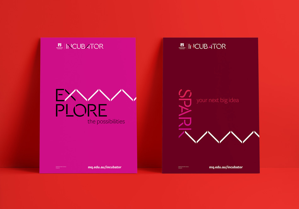 Graphics that promote key themes further extend the zig-zag motif by integrating it with typography.