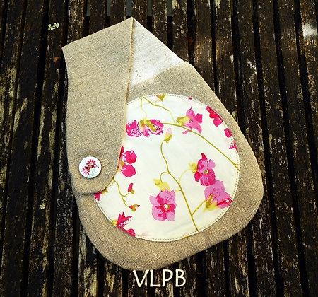 Pochette ceinture lin naturel Liberty Peasblossom
