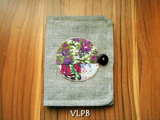 Porte monnaie Porte cartes 2 en 1 lin patchwork de liberty mauve