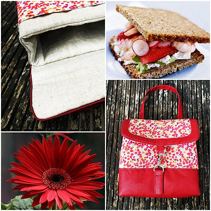 Lunch bag  isotherme lin enduit rouge liberty Wiltshire